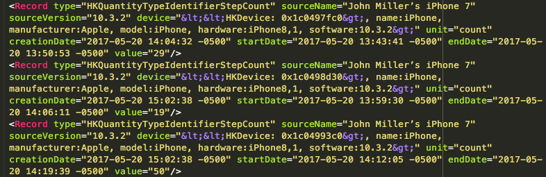 A portion of the export.xml file output from Apple's Health app.